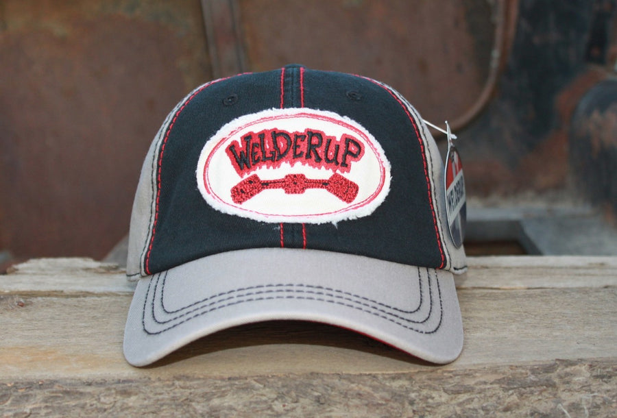 WelderUp Oval Frayed Patch Black/Tan Hat