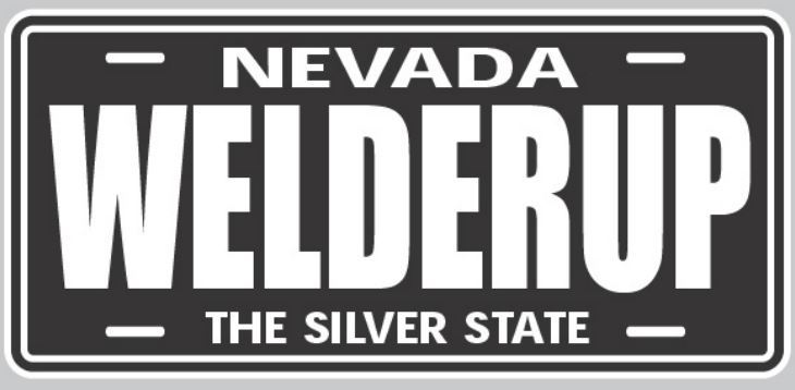 WelderUp Black and White Metal License Plate