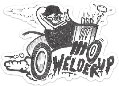 Welder Up Car Sticker - Hand Drawn by Barber Dave
