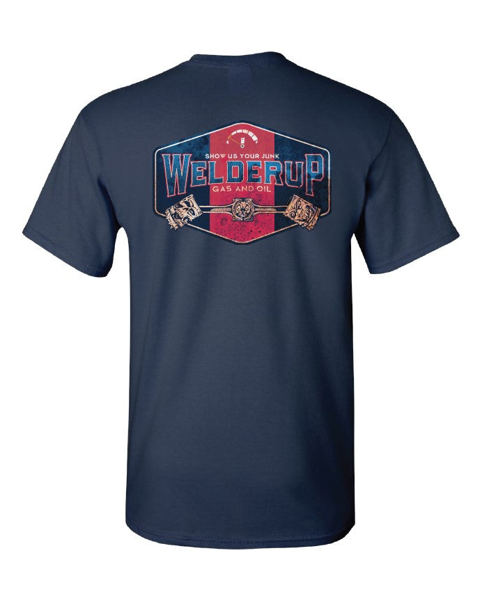 Welder Up Gas & Oil Sign T-Shirt in Dark Blue