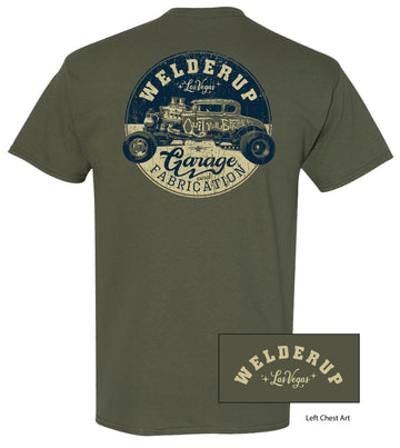 Welder Up QYB Round Logo Military Green T-Shirt