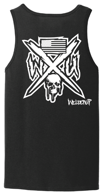 Welder Up Skull & Flag Black Tank Top