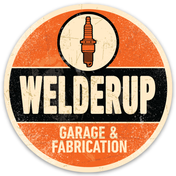Welder Up Round Spark Plug Logo Sticker