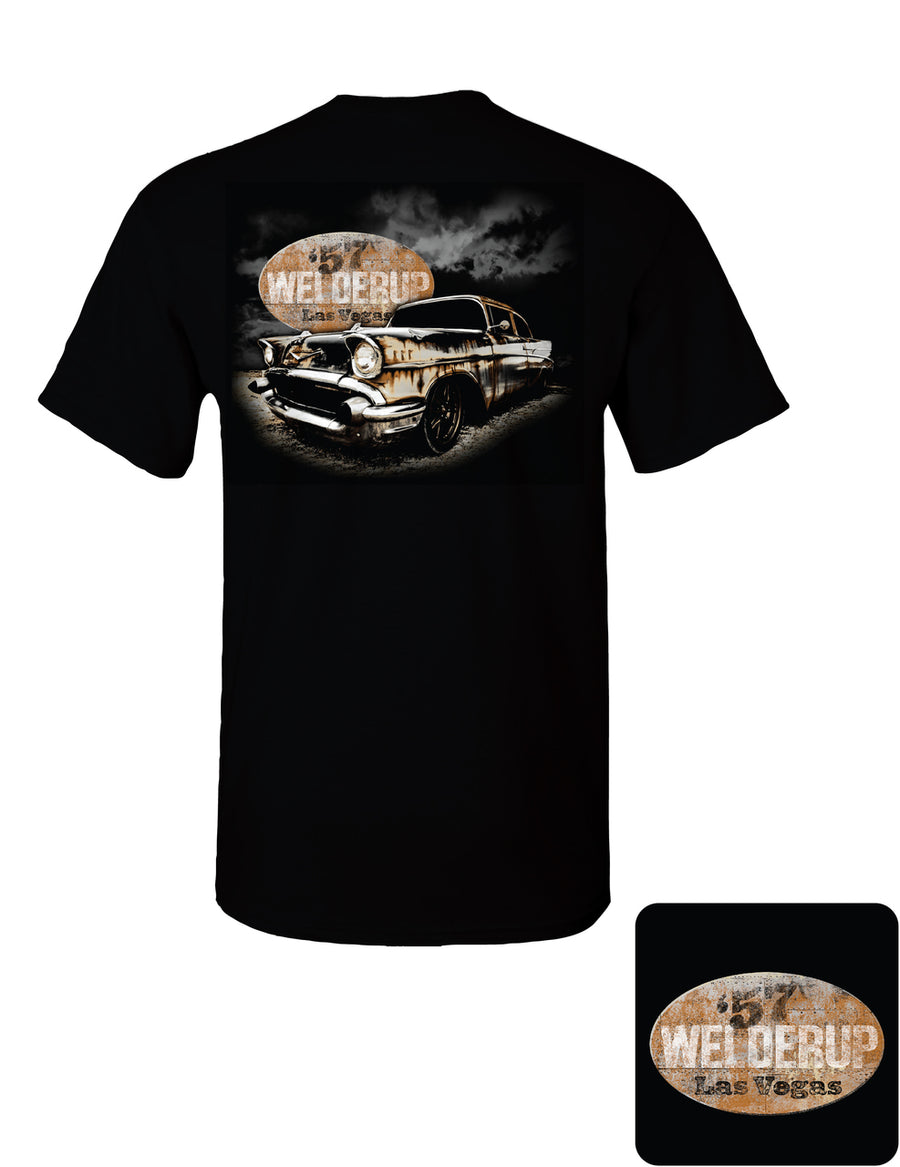 57' Chevy with Rusty Welder Up Sign Black T-Shirt