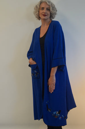 EXCLUSIVE Linen Rayon Jacket in blues with pocket and applique