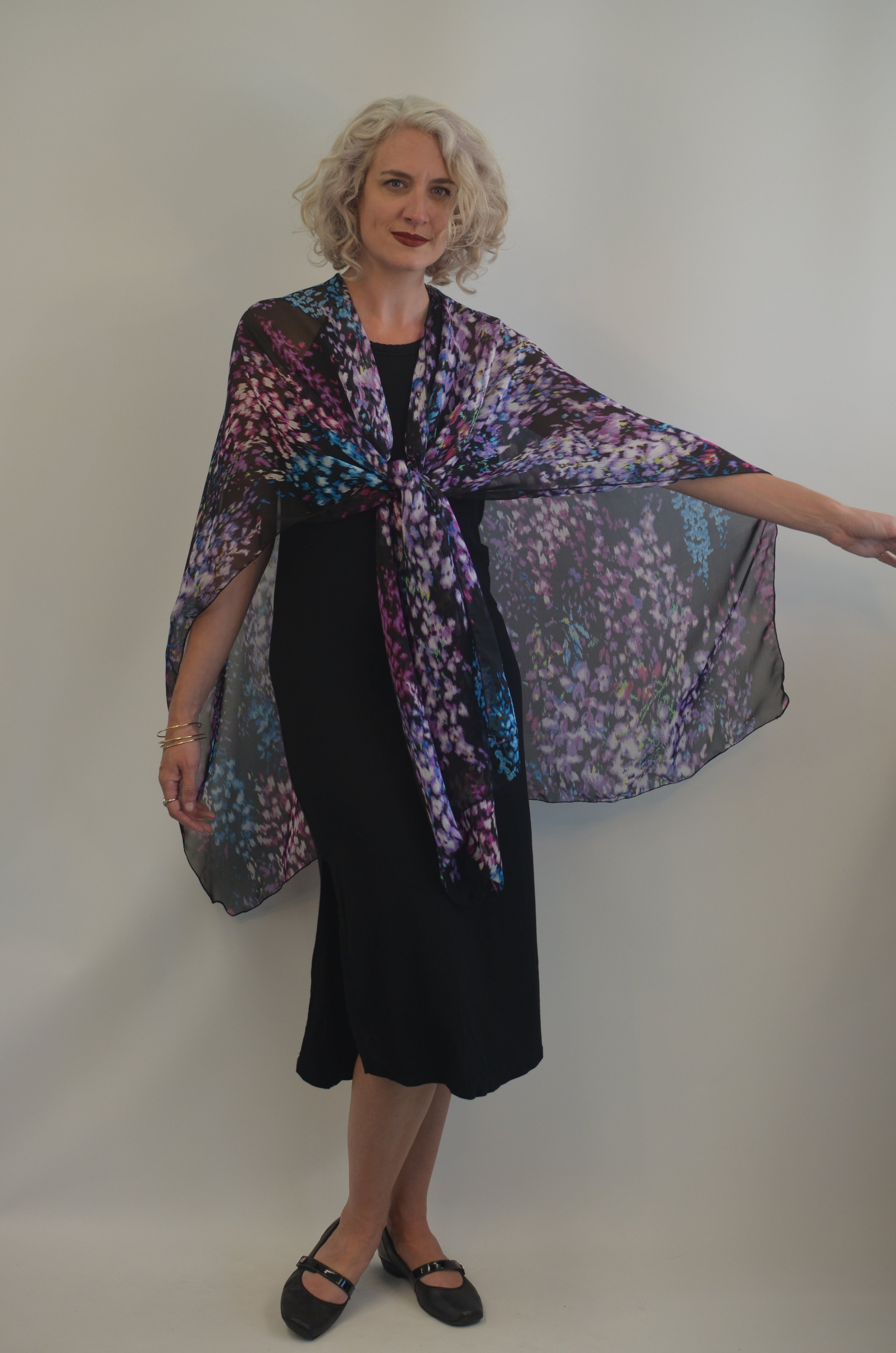 Ruana in Silk Purples