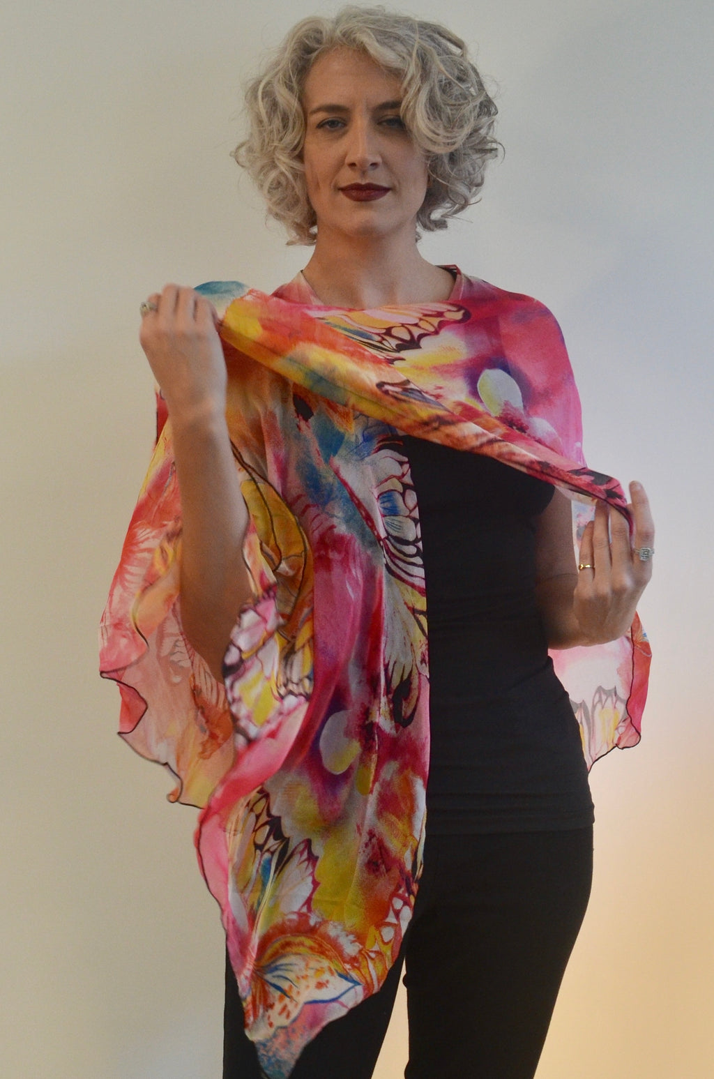 Triangled Ruana in pinks with butterflies