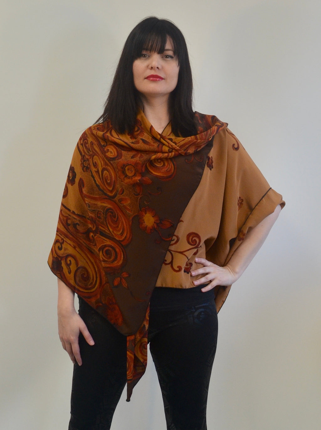 Brown Silk Triangled Ruana