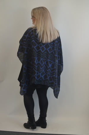 Silk Blue and Black Ruana