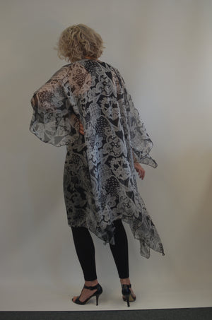 Silk Long Black and White Jacket