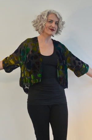 Jacket in Green silk burnout velvet