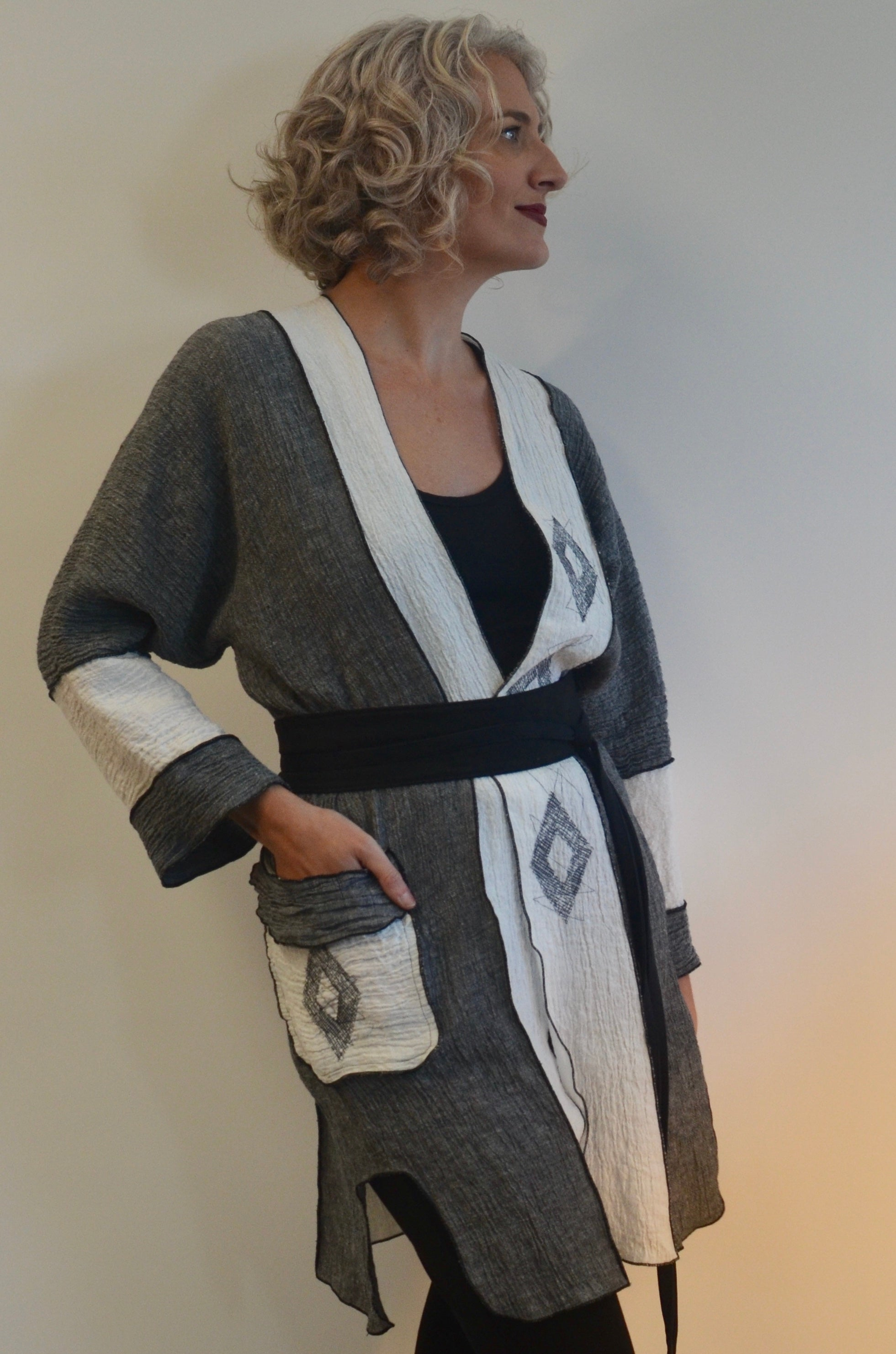 EXCLUSIVE - ONE OF A KIND Linen Jacket with Applique