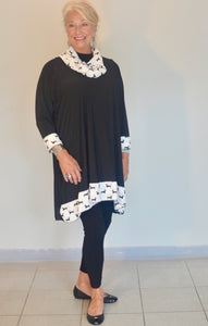 SALE tunic with separate scarf - rimmed with white fabric with black dogs