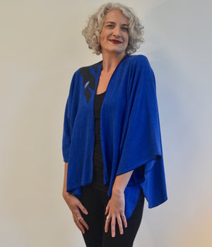 EXCLUSIVE - Linen Rayon vivid blue jacket with applique