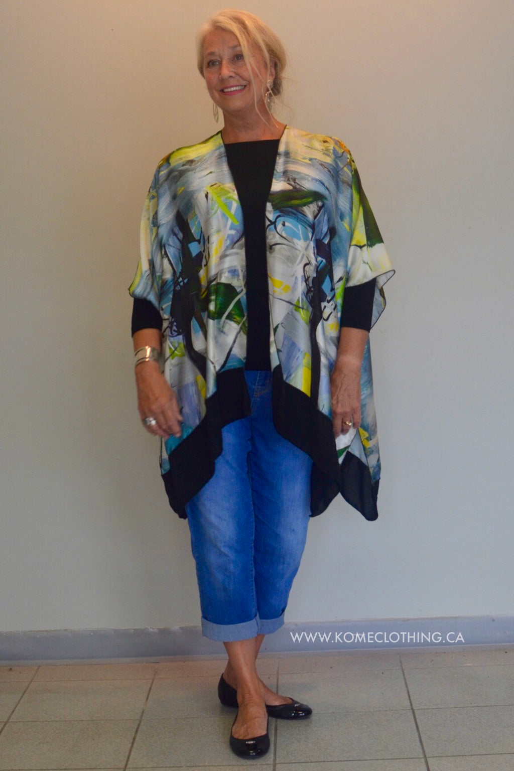 Silk Jacket flowing with matching infinity scarf