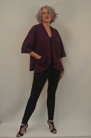 Exclusive Purple Boiled Wool Jacket