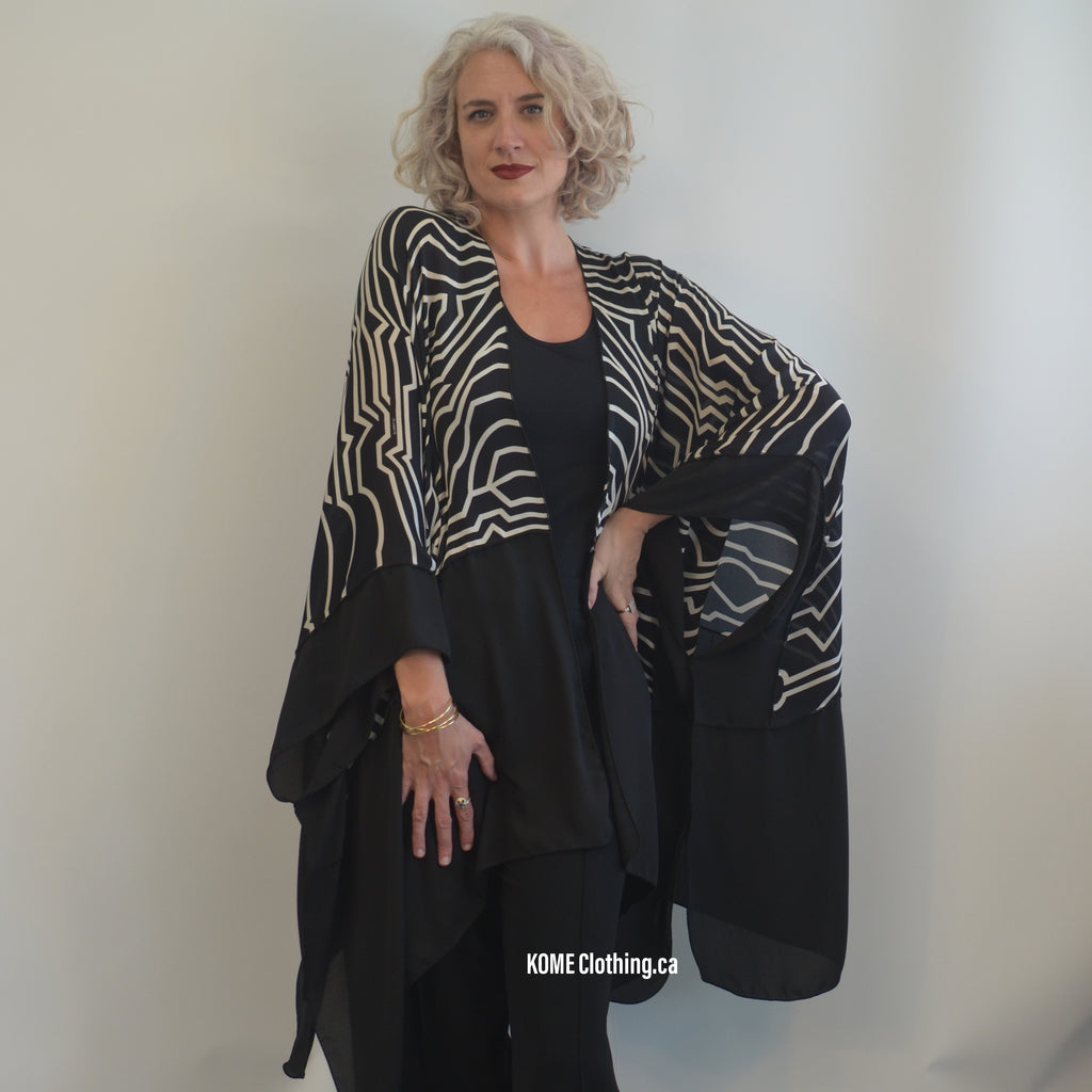 Long Rayon Black and White Komono Jacket