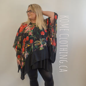 Poncho in Black with Flowers