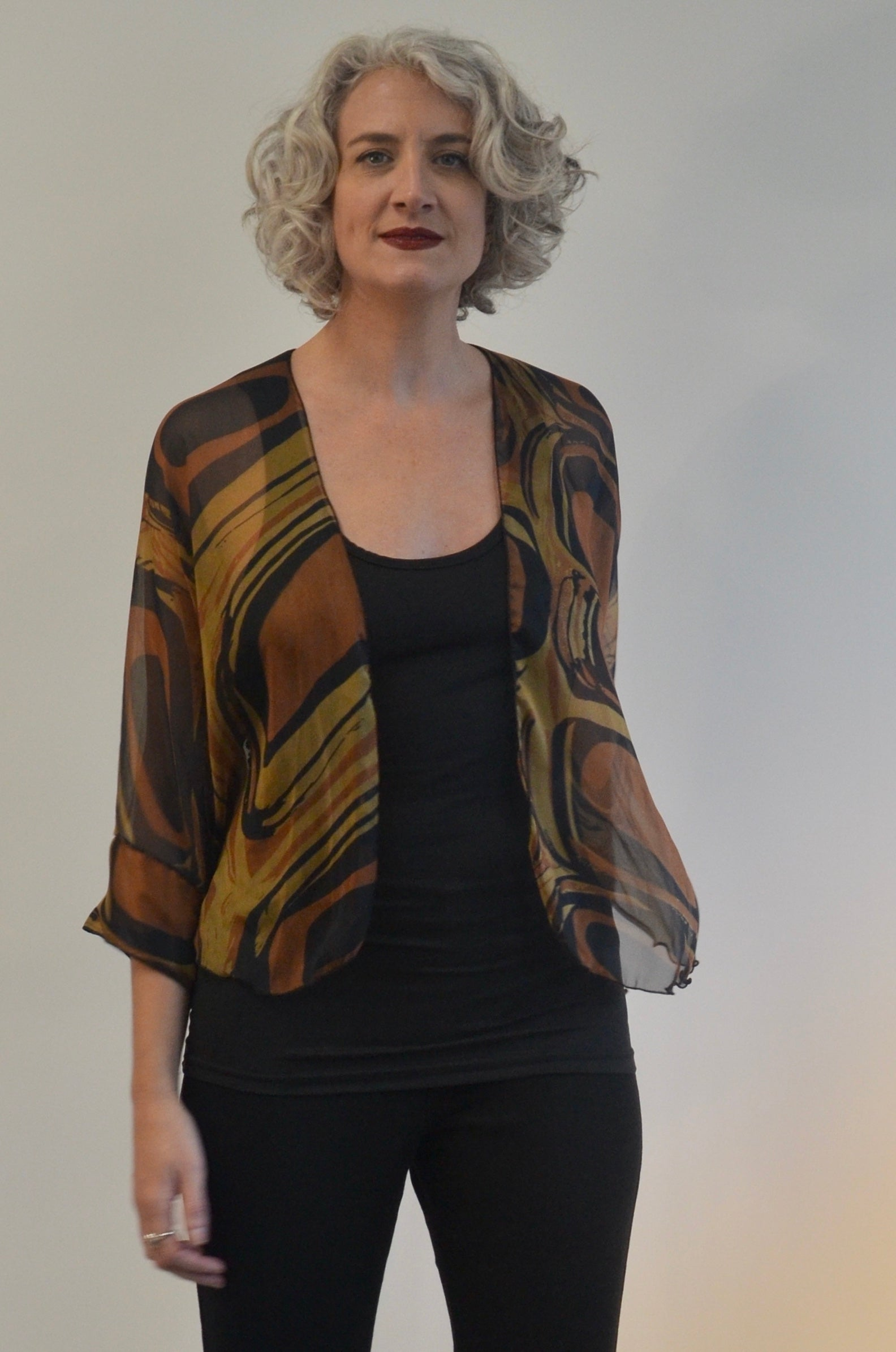 Jacket in Brown and Black Silk