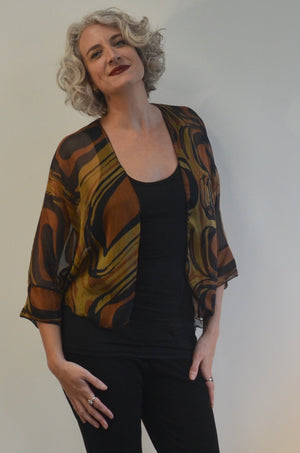 SALE Jacket in Brown and Black Silk