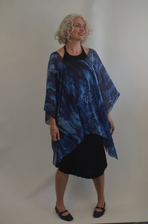 Blue and Black Polyester Top