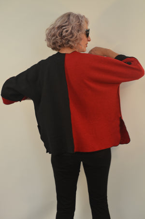 Exclusive Red and White Boiled Wool Jacket