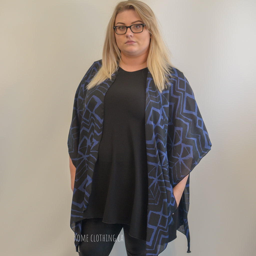 SALE Silk Blue and Black Ruana