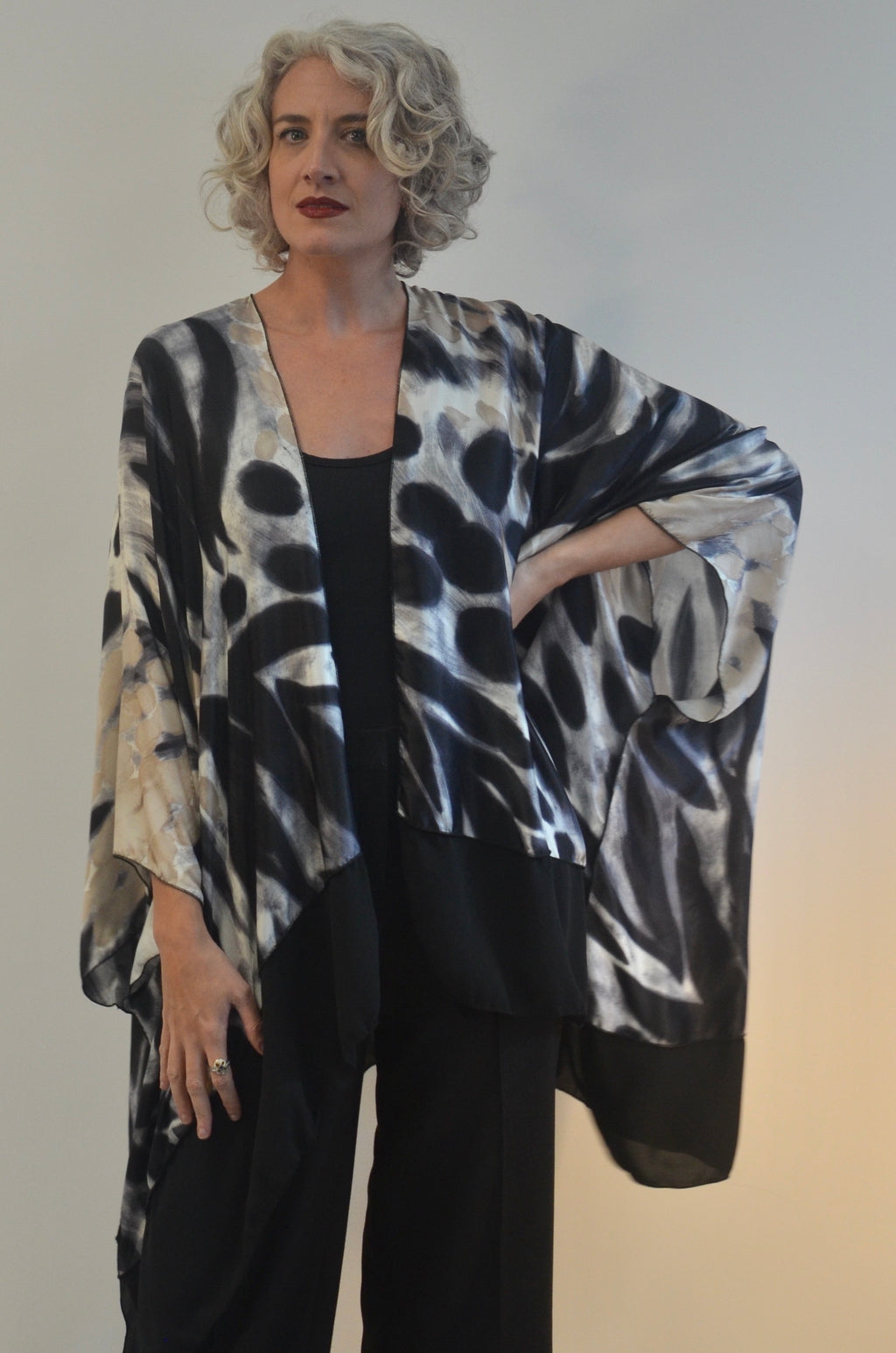 Jacket in Black and White Silk