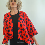 Short Red and Dark Blue Polka Dot Jacket
