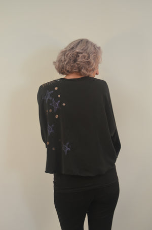 Silk Jacket Exclusive hand stamped painted