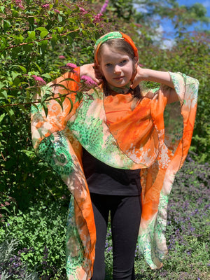 Silk One Of A Kind Poncho with Matching Scarf