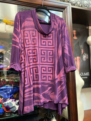 Bamboo in Purples created and designed into a KOME Tunic