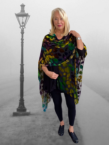 Burn Out Silk in Fall Coloured  Ruana