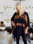 Black Poncho in Poly with added Silk