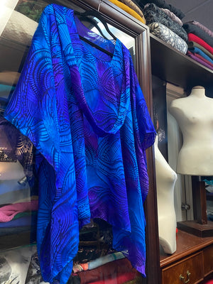 Silk Poncho with Matching Scarf extra long