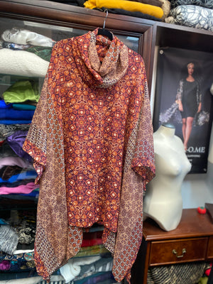 Silk Long Top with matching long double layered Infinity Scarf