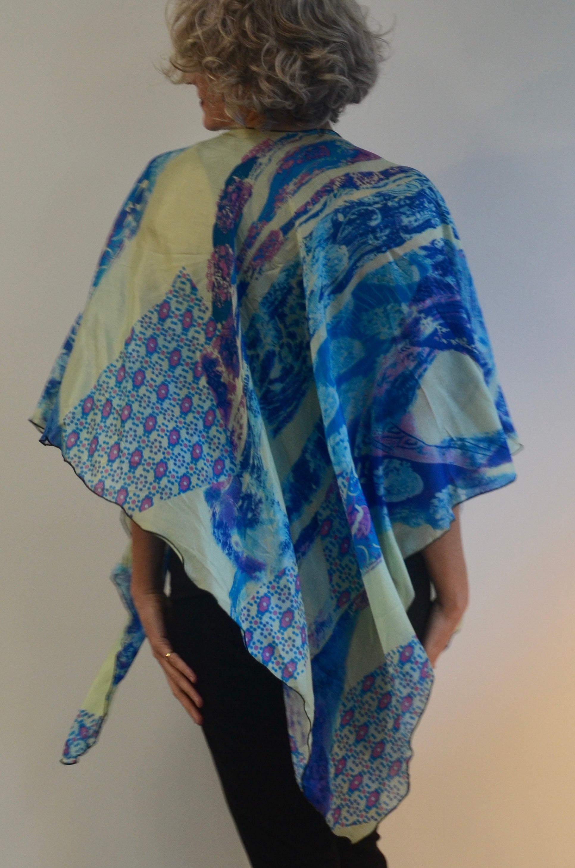 Blue Silk Triangled Ruana