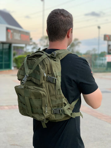 Medium Military Style Backpack (Woodland Green)