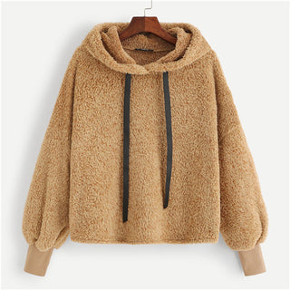 8dc93c8ff03 SHEIN Camel Plain Faux Fur Fluffy Teddy Hoodie Pullovers Casual Drawstring Preppy  Sweatshirt Women Autumn Minimalist