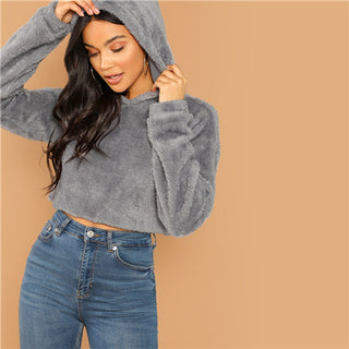 c27f32f3643 TG SHEIN Grey Minimalist Solid Drop Shoulder Crop Teddy Hoodie Sweatshirt  Autumn Casual Fashion Women Pullovers