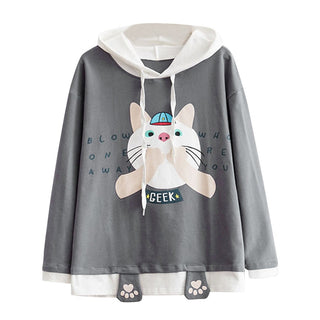 cf1bcbbd76d TG Womens Casual Long Sleeve Cat Claw Print Pocket Thin Hoodie Blouse Top  Shirt