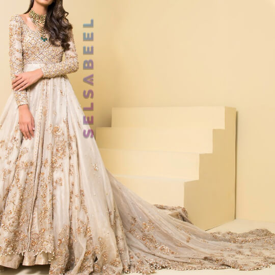 Elegant Pearl White and Gold Floral Lehenga or Maxi Tail Gown