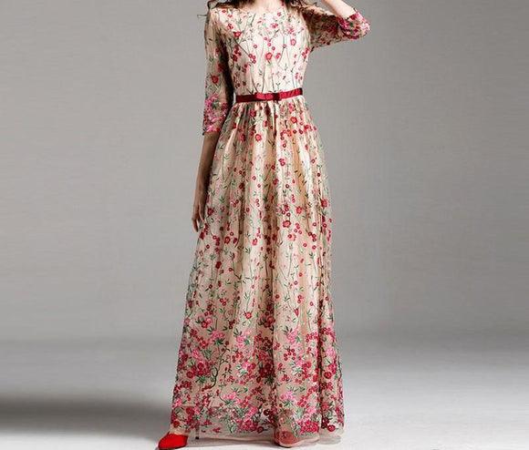 Elegant Red Floral Embroidery Evening Dress Maxi