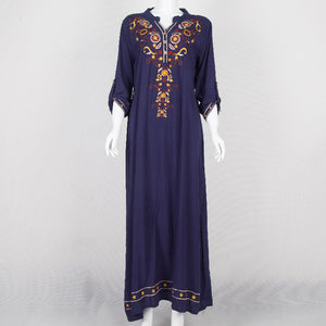 Dark Blue Dress with Moroccan Embroidery