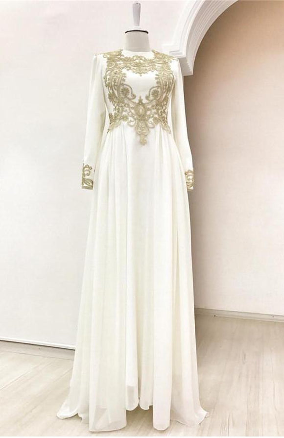 Ivory Gold Evening Dress