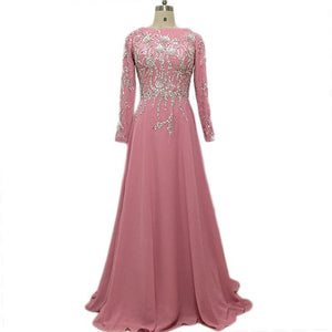 Modest Dusty Pink Evening Dress with Silver Beading