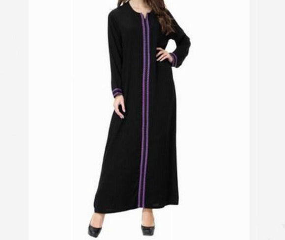 Black Abaya with colored front embroidered stripes -  Selsabeel