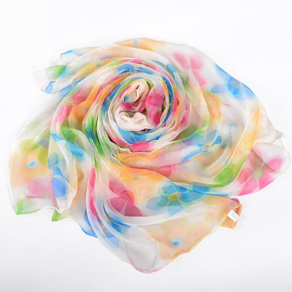 Silk Scarf/Hijab with Floral Prints -  Selsabeel