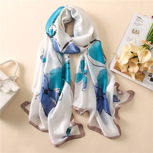 Collage of Luxury Soft Silk Scarf/Hijab with Floral and Pattern Prints -  Selsabeel