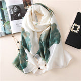Elegant Silk Scarf/Hijab with Colored Floral Prints -  Selsabeel